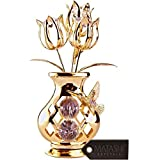 Beautifully Crafted Tulip Vase with Bee Hummingbird Table Top Ornament Dipped In 24K Gold Plating Made with Genuine Matashi Crystals