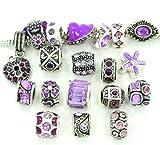 Ten Assorted Purple Crystal Rhinestone Bead Charms