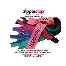 """Zipperstop Wholesale YKK®- 30 Inch (5 Pieces Assorted Colors Winter Jacket Zippers) 30"""" #5 YKK® Vislon Molded Plastic Teeth Zippers Separating Made in USA with Customized Zipperstop Ribbon - Crafter's Special."""
