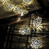 LED-Lichtshop® 1 Stück 3m lange 20er LED-Lichterkette mit silbernen Metall-Herzen, batteriebetrieben mit Schalter. Hochwertige Deko Lichterkette für Innen von LED-Lichtshop.