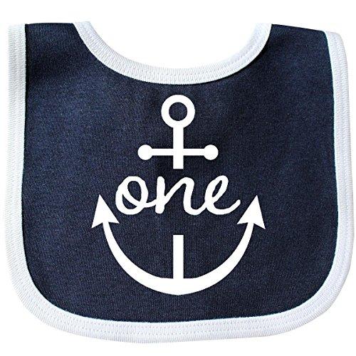 - Inktastic - 1st Birthday Outfit Anchor Nautical Baby Bib Navy/White