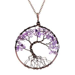 Tumbled Raw Natural Stone Root Family Copper Tree of life Amethyst Amthyest Pendant Necklace Healing Vintage Wisdom Purple Birthstone February Gemstone Wire Wrapped Necklace Gifts for Women