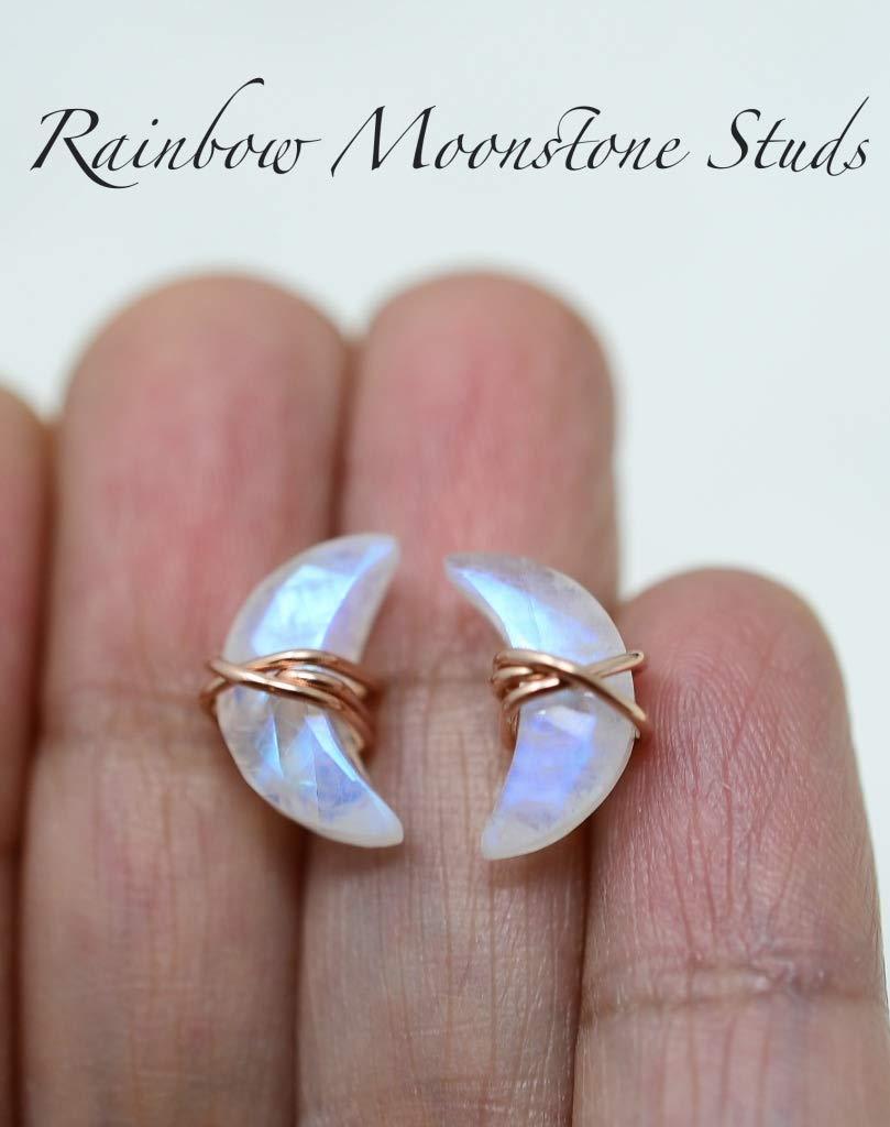 Crescent Moon Filled 14K Solid Gold Rainbow Moonstone Stud Earrings Star Sterling Silver Celestial Earrings Crescent Moon shape Minimalist