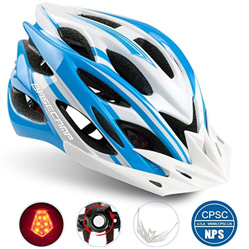 Basecamp Specialized Bike Helmet with Safety Light,Adjustable Sport Cycling Helmet Bicycle Helmets for Road & Mountain Biking,Motorcycle for Men & Women,Youth - Racing,Safety Protection (Blue-white)