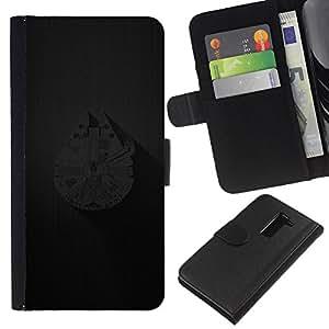 YiPhone /// Tirón de la caja Cartera de cuero con ranuras para tarjetas - Millenium Falcoln Barco - LG G2 D800