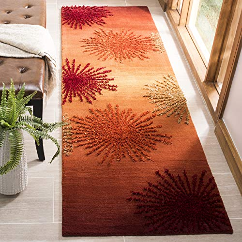 "Safavieh Soho Collection SOH712R Handmade Fireworks Rust and Multicolored Premium Wool Runner (2'6"" x 10')"
