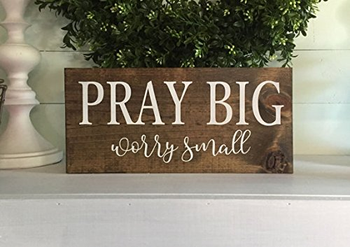 onepicebest Natural and White Lettering Pray Big Worry Small, Prayer Sign, Wood Sign, Custom Sign, Wooden Sign, Farmhouse Sign, Home Decor, Rustic Sign, Wall Hanging