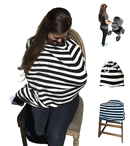 Baby Car Seat Cover and Nursing Cover - 4-in-1 Multi-Use - Shopping Cart and High Chair Cover - Super Stretchy and Soft - Great Baby Shower Gift