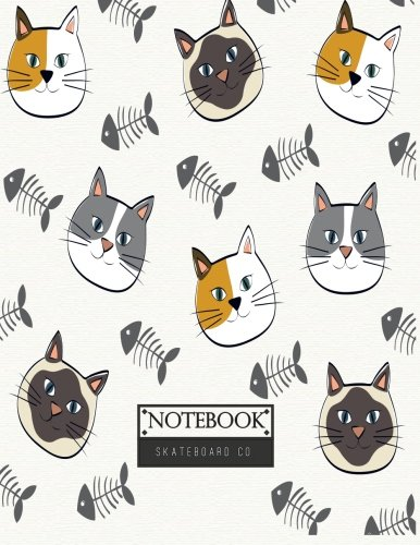 Notebook: Cats and fishbone on gray cover and Lined pages, Extra large (8.5 x 11) inches, 110 pages, White paper (Cats and fishbone on gray notebook) (Volume 4) - Cover Fishbone