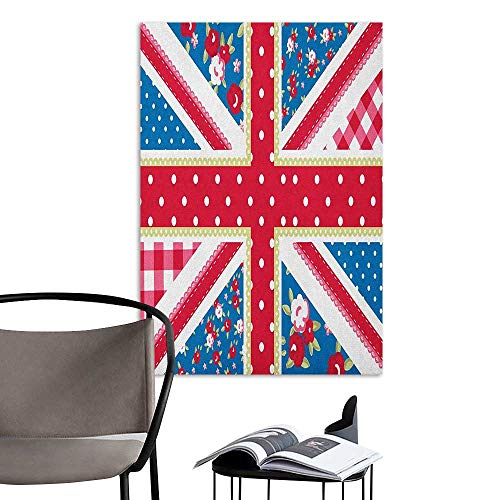 Jaydevn 3D Murals Stickers Wall Decals Shabby Chic Cute British Flag in Floral Style Retro Polka Dots Country Culture Inspired Multicolor Stair Elevator Side W8 x H10]()