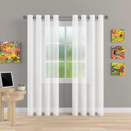 "Grommet Semi Sheer Luxury 2 Panels Total Wide 108"" (Each Curtain 54""Wx84""L) Window Home Decor and Upscale Design Light Penetrating & Privacy Soft Durable Polyester Easy Upk. Brilliant White"