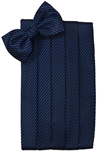 Cardi Men's Venetian Bowtie and Cummerbund Set, Navy (Bows Venetian)