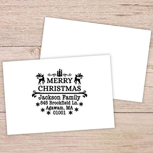 Xmas Stamps Round Customized Merry Christmas Tree Christmas Reindeer Candle Snowflower Design Self Inking Return Address Rubber Stamps for Christmas Cards