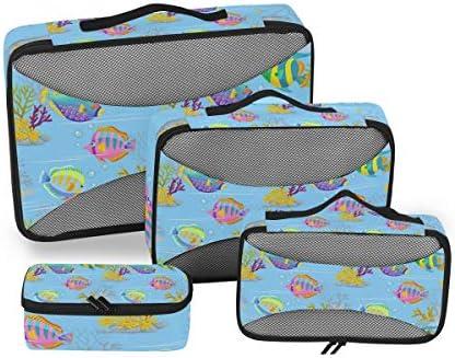 カラフルな海の魚 荷物パッキングキューブオーガナイザートイレタリーランドリーストレージバッグポーチパックキューブ4さまざまなサイズセットトラベルキッズレディース