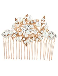 Ever Faith Bridal Leaf Cream Simulated Pearl Clear Austrian Crystal Hair Comb