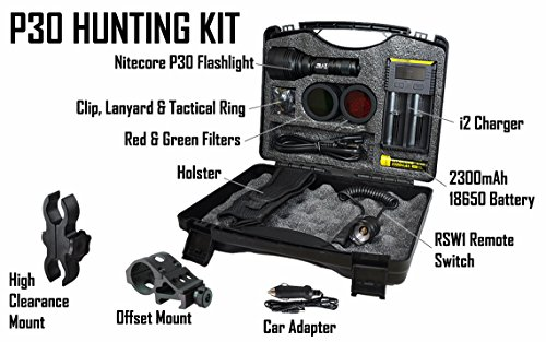 Review Nitecore P30 1000 Lumens 676 Yards Red and Green Rechargeable Hunting Light with Lumentac Rifle Mounting Kit for Hog Coyote and Varmint Hunting (Medium, Gift Box Packaging)
