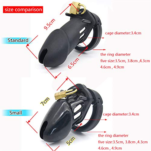 Frisky Male Chastity Cock Cages Sex Toys Penis Belt Lock with Five Penis Rings with Standard/Short Cage Silicone Device Blue Small Size