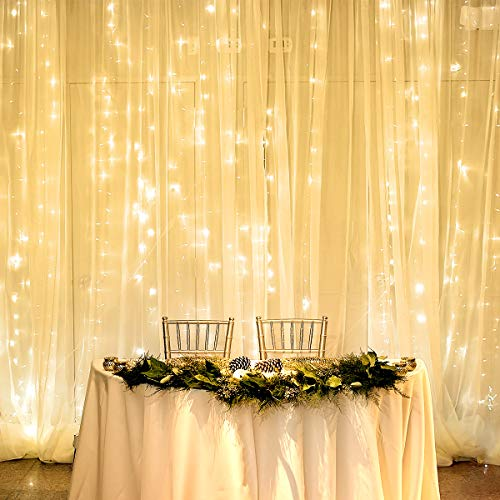 - LE LED Curtain Lights,19.7x9.8ft, 594 LEDs, 8 Modes, Plug in Twinkle Lights, Warm White Indoor Outdoor Fairy String Lights for Bedroom Window Wall Decorations, Party Wedding Backdrop and More