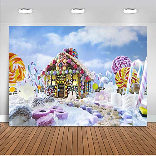 Mocsicka Fairy Tale Theme Backdrop Colorful Candyland Decoration Background 7x5ft Vinyl Backdrops for Children Birthday Party Photo Booth Banner Decoration -