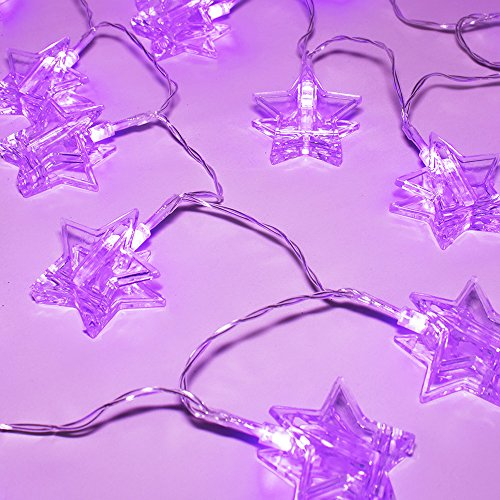 LuxLumi LED String Lights with Batteries Included for Bedroom Kids Nursery Christmas Holiday Home Decor Teens College Dorm Room & Halloween Party (Violet Purple Star Photo Clip - 7.5 -