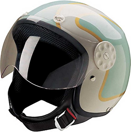 HCI Open Face Fiberglass Motorcycle Helmet Green/Gold w/Face Shield 15-660 (Lg)