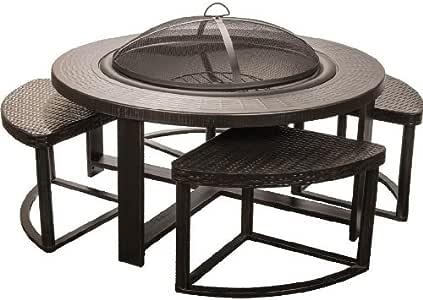 Amazon.com : Alpine Flame 4-Person Cast Aluminum Patio Conversation Set With Fire Pit Table ...