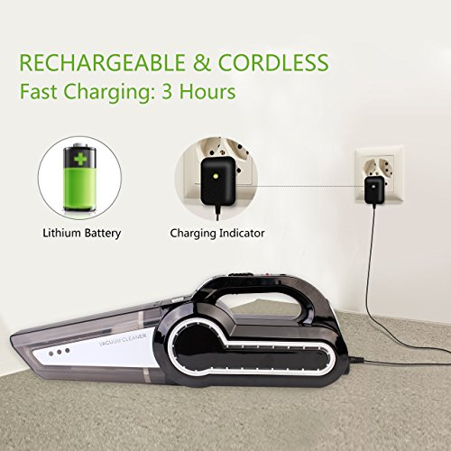 Cordless Vacuum, 12V 120W Portable Cordless Vacuum Cleaner, Wet & Dry Hand-held Car Vacuum for Home or Car with 4KPa Suction, Pet Hair Eraser, LED Light by Dr. Auto by Dr.Auto (Image #5)