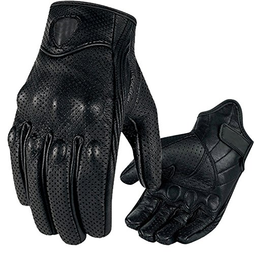 Winter Riding Goatskin Gloves Premium Protective Motorcycle Leather Full Finger Gloves Warm Lined TouchScreen Gloves Black,M