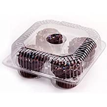 Oasis Supply PJP LBH-8604-6 4-Compartment Cupcake Container with Hinged Lid, Clear