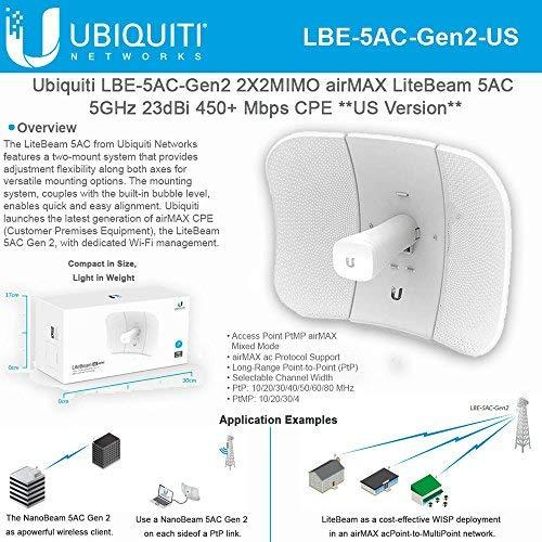 Ubiqui Network LiteBeam ac Gen LBE-5AC-Gen2-US 2X2 MIMO airMAX 5GHz 23dBi 450+ Mbps CPE by Ubiqui Network