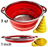 Combo of Collapsible Colander & Foldable Funnel - Each Folds to 1 Inch. Silicone & Stainless Steel Kitchen Gadget Perfect for RV, Camper, Travel Trailer - Storage and Organization Solution Accessories