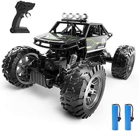 Holyton RC Cars, 4 wheel drive Remote Control Car, 1:16 Scale Off Road Monster Trucks 30+ MPH Speed 2.4GHz All Terrain, 2 Rechargeable Batteries Toy Crawlers Vehicles for Boys and Adults, 40+ Min Play, Gray