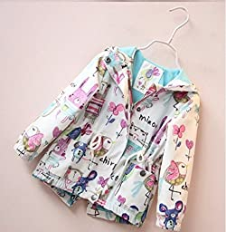 Kids Baby Toddler Girls Spring Fall Cartoon Trench Coat Wind Hooded Jacket (5-6T, White)