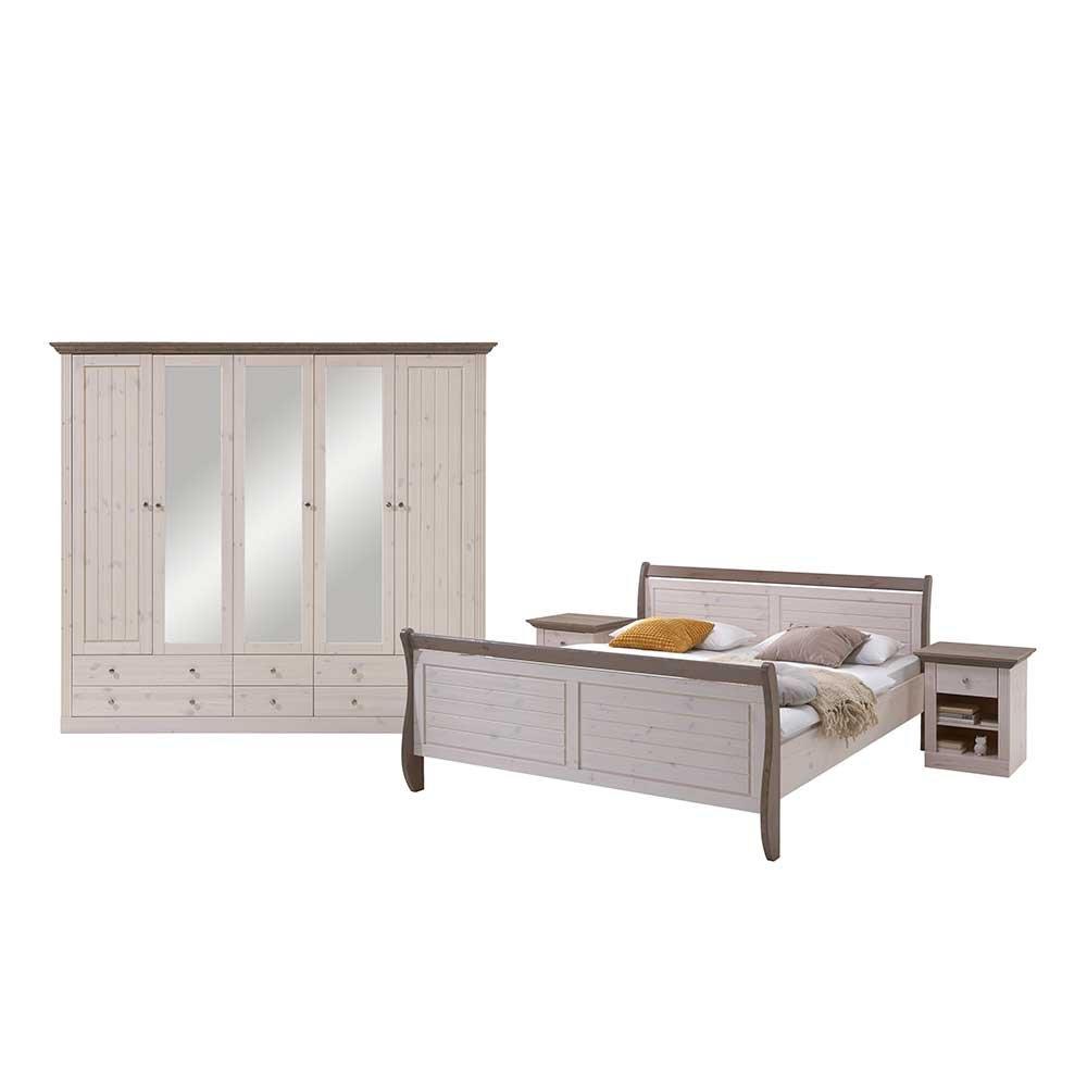 landhaus schlafzimmermobel in weiss braun kiefer massivholz 4 teilig pharao24 kaufen