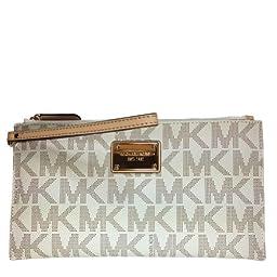 Michael Kors Signature Fulton Large PVC Top Zip Clutch / Wristlet - Vanilla