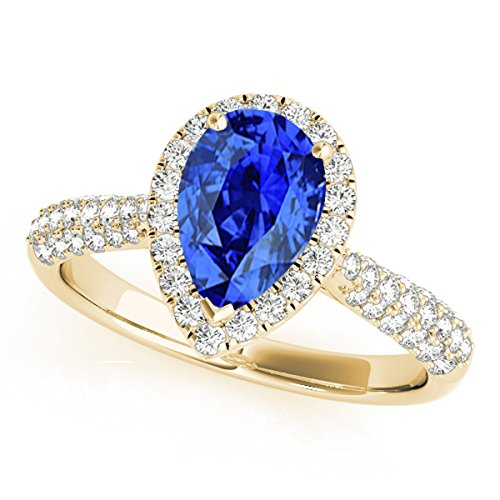 1 Ct. Ttw Diamond And Pear Shaped Tanzanite Ring In 10K Yellow Gold