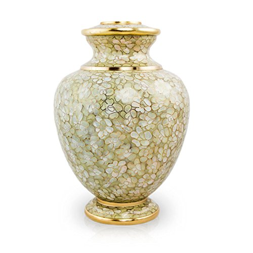 OneWorld Memorials Essence Bronze Cremation Urn - Large - Holds Up To 200 Cubic Inches of Ashes - Opal Beige Metal Urns For Ashes - Engraving Sold Separately (Cloisonne Keepsake Cremation Urn)