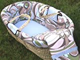 Retro Flowers Moses Basket without Hood in Blue, Green and Chocolate
