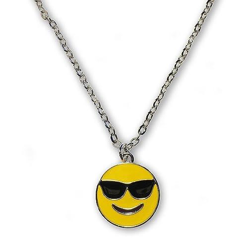 Amazon.com: Emoji Cadena de plata collar con colgante ...