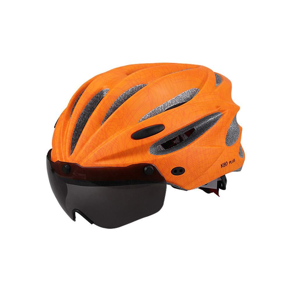 AUMING Fahrradhelm Erwachsener Fahrradhelm mit Abnehmbarer Augenschutzbrille Einstellbarer Sportberg Rennradhelm Fahrradhelme (Farbe   Orange)