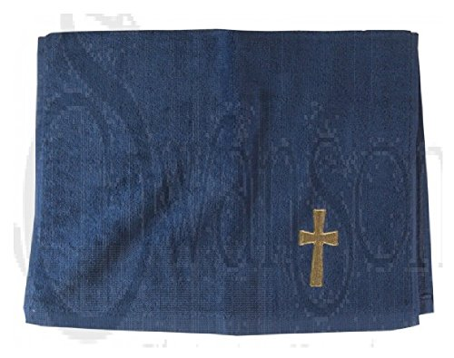 Pastor Towel Cross Navy with gold by Swanson Christian Supply