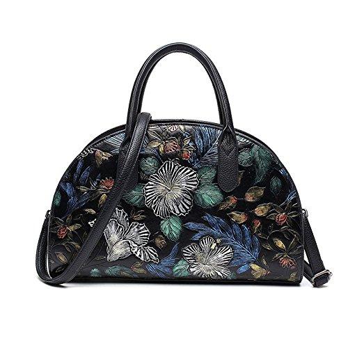 ZLL Women's bag Bolsos Pintados A Mano De Las Mujeres Bolsos Bandolera De Mariposa En Relieve Paquete Diagonal Black