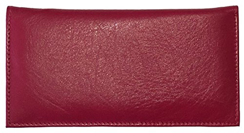- Red Basic Leather Checkbook Cover