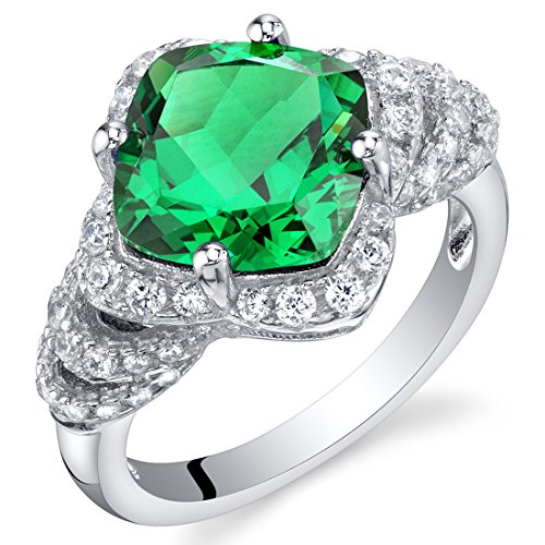 3.50 Carat Simulated Emerald Sterling Silver Tier Halo Ring Size 6 ()