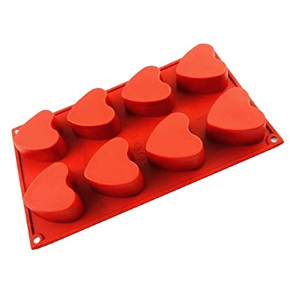 72ca3702e96 IC ICLOVER Vermilion 100% Food Grade Silicone Bakeware Cake Mold Baking Pan  Heart Mold with