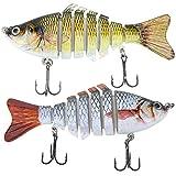 Lixada Fishing Bass Lure Multi Jointed Artificial Bait Segment Lifelike Trout Swimbait Hard Crankbait Treble Hooks (Style 1-3)