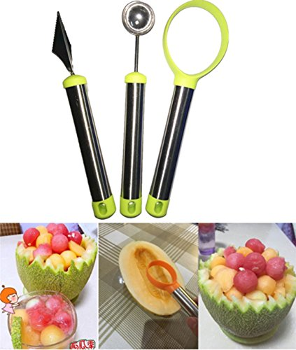 Garloy Stainless Steel Fruit Carving Tool,The Melon Baller, Carving Knife and Fruit Scoop Set for Dig Pulp Separator.(Set of 3)