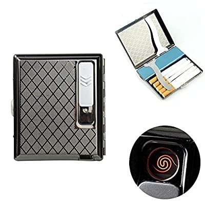 firedog Cigarette Case Holder w/Built-in Flameless Electronic Rechargeable USB Lighter