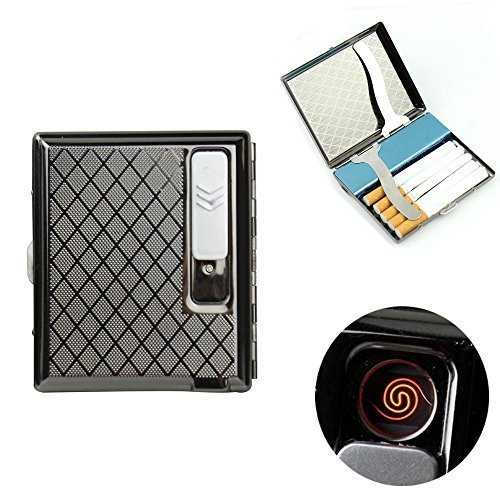 (firedog Cigarette Case Holder w/Built-in Flameless Electronic Rechargeable USB Lighter (Gray))