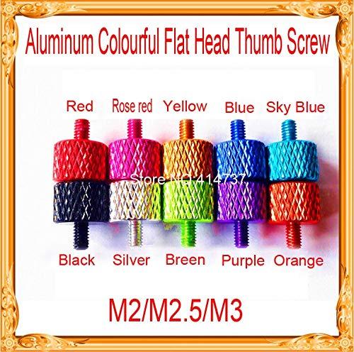 Ochoos 20pcs/lot M2/M2.5/M3 Aluminum Alloy Colourful Flat Head Thumb Screw/Round Head Knurling Hand Twist Screw/Hand Tighten Screws - (Dimensions: M335 mm, Color: Purple) 35 Mm Purple Dragon